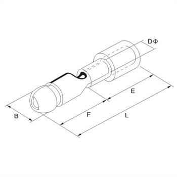 25x Rundstecker isoliert 4,0-6,0mm² gelb ; Kabelschuh Steckverbinder