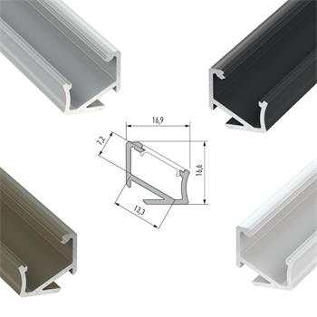 LED Aluminium profile 1m 17x17mm 30°/60° (Type H) for LED strips