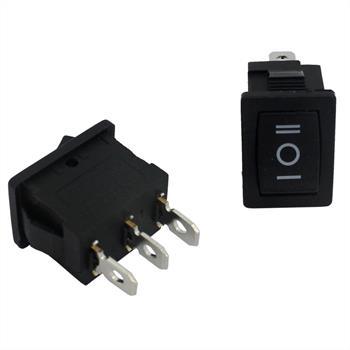 Changeover switch 1pole ; I-0-II ; 250V 6A, 21x15mm Black ; Rocker sw.