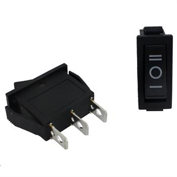 Changeover switch 1pole ; I-0-II ; 250V 6A, 31x14mm Black ; Rocker sw.