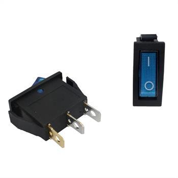 Ausschalter 1polig ; I-0 ; 12V 20A, 31x14mm LED Blau ; Wippschalter