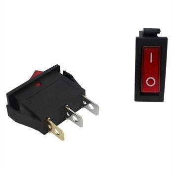 Wechselschalter 1polig 12V 20A I-0 31x14mm Rot Wippschalter