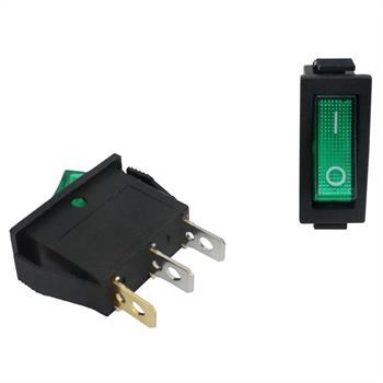 Power switch 1pole ; I-0 ; 12V 20A, 31x14mm LED Green ; Rocker sw.