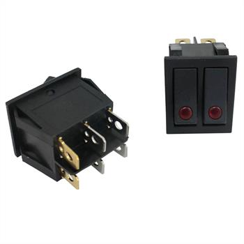Wechselschalter 2polig ; 250V 15A, 31x26mm Schwarz ; Wippschalter