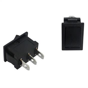 Toggle switch 1pole ; 250V 3A, 21x15mm Black ; Rocker sw.