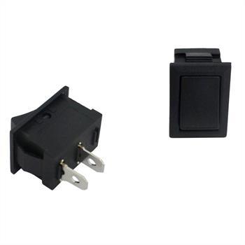 Power switch 1pole ; 250V 3A, 21x15mm Black ; Rocker sw.