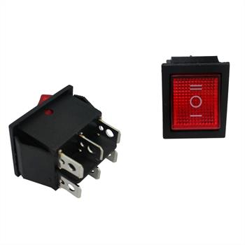 Changeover switch 2poles ; I-0-II ; 250V 16A, 31x26mm LED Red ; Rocker sw.