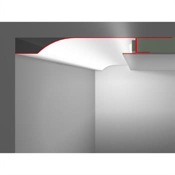 LED Drywall profile R10-R with reflector-wing (Length: 2m) ; Plasterboard