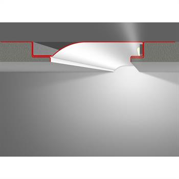 LED profile Stucco / Plaster R10-F with reflector-wing (Length: 2m)