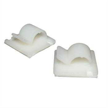 100x Adhesive base for cable up to 13mm / Cable clip 25x25mm ; white nature