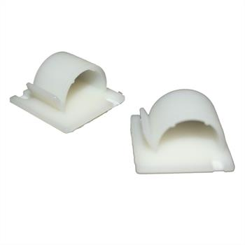 100x Adhesive base for cable up to 18mm / Cable clip 28x28mm ; white nature