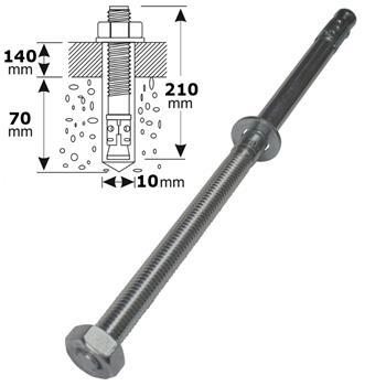 M10 210mm V4 Edelstahl Keilanker Bolzenanker Blitzdübel Schwerlastanker