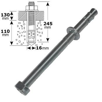M16 245mm V4 Edelstahl Keilanker Bolzenanker Blitzdübel Schwerlastanker