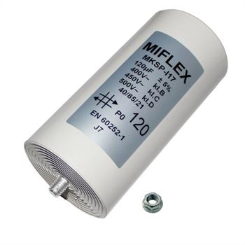 AnlaufKondensator MotorKondensator 120µF 450V 65x119mm Stecker M8 Miflex 120uF