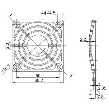 Kunststoff Lüftergitter 60x60mm 60mm Gitter