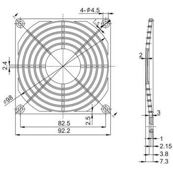 Kunststoff Lüftergitter 92x92mm 92mm Gitter