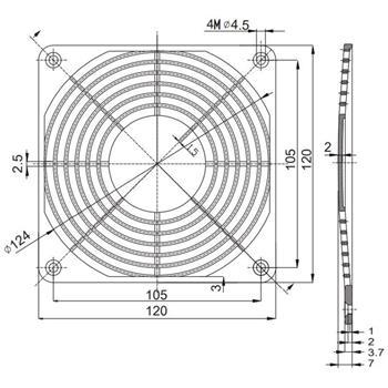 Kunststoff Lüftergitter mit Filtereinsatz 120x120mm 120mm