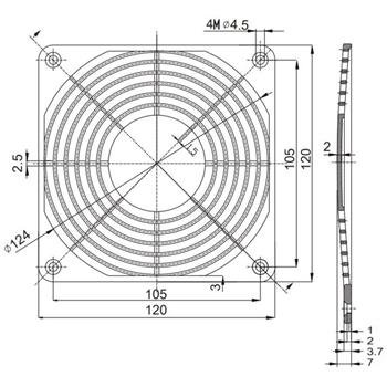 Kunststoff Lüftergitter 120x120mm 120mm Gitter