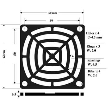 Fan grille + Dust filter 60x60mm 30ppi 3-part ; changable filter
