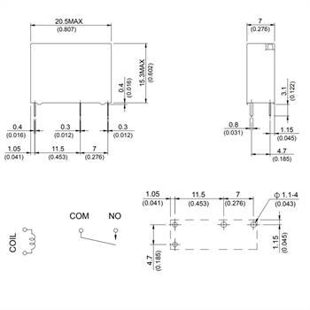 Printrelais 24V Song Chuan 202N-1AH-F-C 12VDC 5A 250V Schließerkontakt