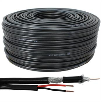 100m RG59 Koax Kabel Video + Strom Power ; Videoüberwachung Kamera 0,81mm