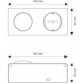 MiniBox Switch + 1x Earthed Socket Desktop power socket IP20 ; Aluminium