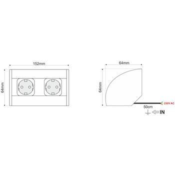 CornerBox 2x Earhted desktop corner power socket IP20 ; Aluminium