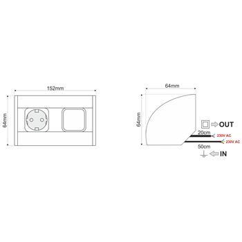 CornerBox Switch + 1x Earthed desktop corner power socket ; Aluminium