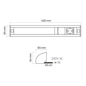 CornerBox Switch LED lamp + 1x Earthed Socket Desktop power socket ; Aluminium