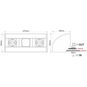 CornerBox Switch + 2x Earthed desktop corner power socket ; Aluminium