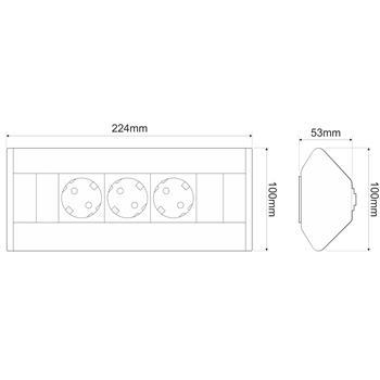 CornerBox 3x Earthed desktop corner power socket ; Aluminium