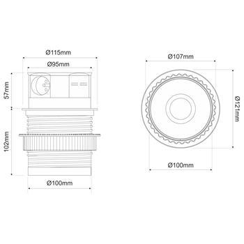 TetraBox 4x Earthed Socket ; Desktop power socket ; Borehole 107mm ; Aluminium