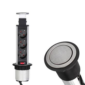 SlideBox 3x Earthed Socket ; Desktop power socket ; Borehole d107mm