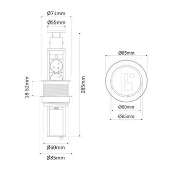 SlideBox 3x Schuko Steckdose Tischsteckdose Bohrloch 65mm