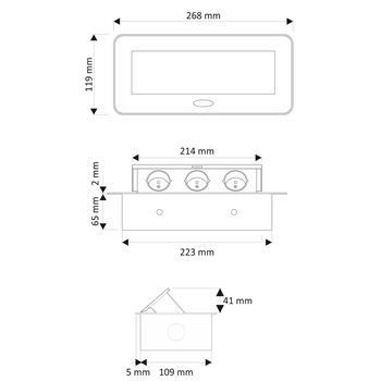 KombiBox 3x Schuko Steckdose ; Tischsteckdose mit Klappdeckel