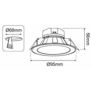 LED Downlight Panel round 7W d95mm 520…580lm ; Build-In Lamp