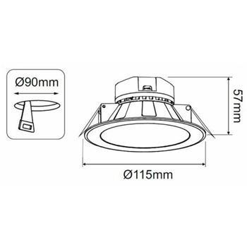 LED Downlight Panel rund 10W d115mm 850…920lm ; Einbauleuchte Deckenlampe