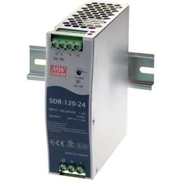 Din-Rail power supply 120W 24V 5A ; MeanWell SDR-120-24 ; Panel Mount