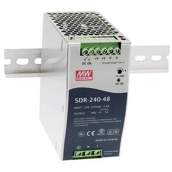 Din-Rail power supply 240W 24V 10A ; MeanWell SDR-240-24 ; Panel Mount
