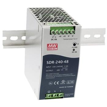 Din-Rail power supply 240W 48V 5A ; MeanWell SDR-240-48 ; Panel Mount