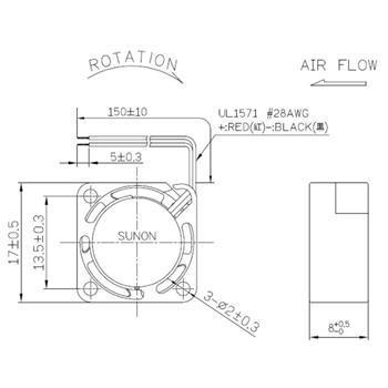 Lüfter 0,33W 17x17x8mm 1,1m³/h 14,2dBA ; Sunon MF17080V21000UA99