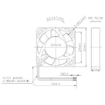 Ventilator Fan 5V 0,56W 30x30x6mm 8,3m³/h 23,6dBA ; Sunon MF30060V11000UA99