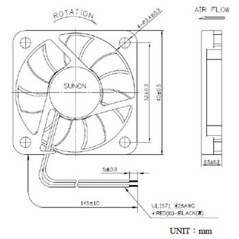 Ventilator Fan 5V 0,44W 40x40x6mm 10,7m³/h 29,3dBA ; Sunon MF40060V11000UA99