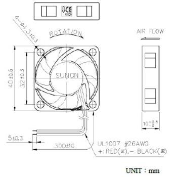 Lüfter 12V 0,38W 40x40x10mm 9,2m³/h 15,7dBA ; Sunon HA40101V41000UA99