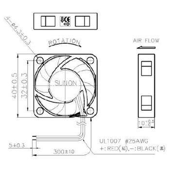 Lüfter 12V 0,62W 40x40x10mm 13,6m³/h 27,3dBA ; Sunon MF40101V11000UA99