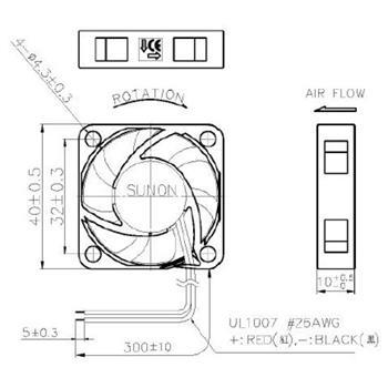 Lüfter 12V 0,48W 40x40x10mm 11,9m³/h 20,6dBA ; Sunon MF40101V21000UA99
