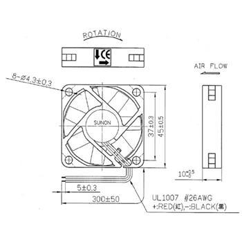 Lüfter 12V 1,32W 45x45x10mm 20m³/h 32,5dBA ; Sunon ME45101V1-A99