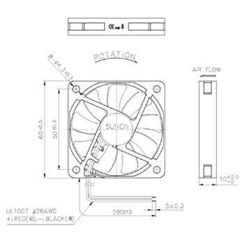 Lüfter 12V 1,3W 60x60x10mm 27,7m³/h 28,5dBA ; Sunon MF60101V11000UA99