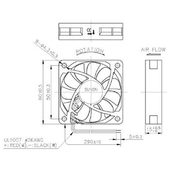 Ventilator Fan 1,8W 60x60x15mm 44,8m³/h 32,4dBA ; Sunon MF60152V11000UA99