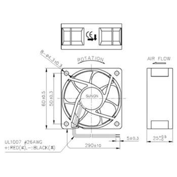 Lüfter 12V 0,24W 60x60x25mm 23,4m³/h 10,7dBA ; Sunon HA60251V41000UA99